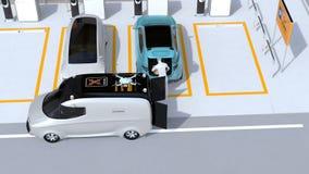 Φέρνοντας συσκευασία προσωπικού παράδοσης στον μπλε κορμό αυτοκινήτων στο χώρο στάθμευσης διανυσματική απεικόνιση