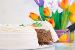 φέτα λεμονιών καρότων κέικ ανασκόπησης στοκ φωτογραφία