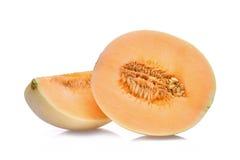 Φέτα και το μισό από το μελίτωμα melonsunlady που απομονώνει στο λευκό Στοκ εικόνες με δικαίωμα ελεύθερης χρήσης
