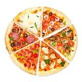 Φέτα πιτσών με τα διαφορετικά καλύμματα Στοκ εικόνες με δικαίωμα ελεύθερης χρήσης