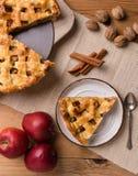 Φέτα πιτών της Apple στην αγροτική ρύθμιση Στοκ Εικόνα