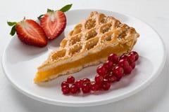 Φέτα πιτών της Apple στο άσπρο πιάτο με τα φρούτα Στοκ Εικόνες