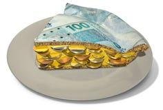 Φέτα της πραγματικής πίτας χρημάτων Στοκ Εικόνες