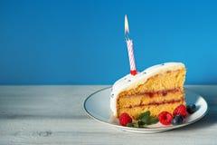 Φέτα του κέικ γενεθλίων με το κερί και τα μούρα Στοκ εικόνα με δικαίωμα ελεύθερης χρήσης