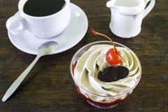 Φέτα του κέικ στρώματος σοκολάτας με τα μούρα και τη σάλτσα σοκολάτας Στοκ φωτογραφίες με δικαίωμα ελεύθερης χρήσης