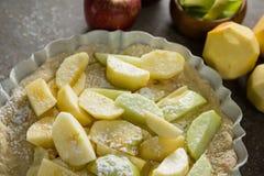 Φέτα του μήλου σε ξινό με τη ζάχαρη τήξης Στοκ Εικόνες