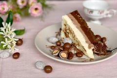Φέτα του υγιούς ακατέργαστου κετονογενετικού κρεμώδους κέικ, κουτάλι που παίρνει ένα κομμάτι στοκ εικόνες