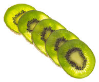 Φέτα των φρέσκων φρούτων ακτινίδιων που απομονώνονται Στοκ φωτογραφία με δικαίωμα ελεύθερης χρήσης