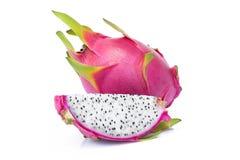 Φέτα φρούτων δράκων στο άσπρο υπόβαθρο Στοκ Φωτογραφίες