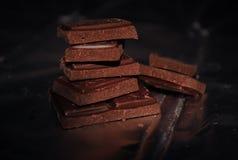 φέτες πικρής σοκολάτας Στοκ Φωτογραφίες