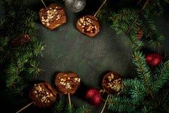 Φέτες της Apple στη σοκολάτα Στοκ Εικόνες