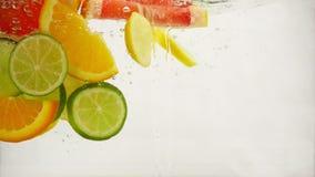 Φέτες του ασβέστη εσπεριδοειδών, λεμόνι, πορτοκάλι, πτώση γκρέιπφρουτ στο νερό με τους παφλασμούς και τις φυσαλίδες, σε αργή κίνη απόθεμα βίντεο