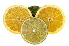 Φέτες των κίτρινων λεμονιών και των πράσινων ασβεστών στο άσπρο υπόβαθρο Στοκ Φωτογραφίες