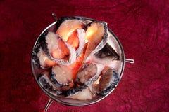 Φέτες των ψαριών rohu στο μεγάλο κόσκινο Στοκ εικόνες με δικαίωμα ελεύθερης χρήσης