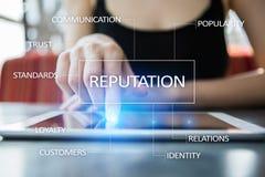 Φήμη και επιχείρηση σχέσης πελατών cocnept στην εικονική οθόνη Στοκ Εικόνα