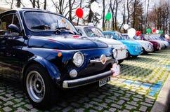 Φίατ 500 κλασική συνάθροιση αυτοκινήτων Στοκ φωτογραφίες με δικαίωμα ελεύθερης χρήσης