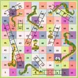 Φίδια και σκάλες boardgame για τα παιδιά Ύφος κινούμενων σχεδίων επίσης corel σύρετε το διάνυσμα απεικόνισης ελεύθερη απεικόνιση δικαιώματος