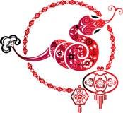 Φίδι τύχης και κινεζικό γραφικό στοιχείο φαναριών Στοκ Φωτογραφία