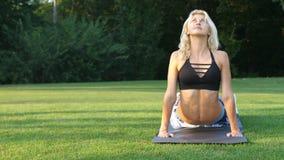 Φίλαθλη γυναίκα που κάνει τις τεντώνοντας ασκήσεις υπαίθριες Κορίτσι ικανότητας που κάνει lunges στο πάρκο στο καλοκαίρι Workout  απόθεμα βίντεο