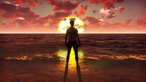 Φίλαθλος που κάνει τον αθλητισμό στον ωκεανό στην ανατολή Το όμορφο καλοκαίρι περιτυλίχτηκε υπόβαθρο διανυσματική απεικόνιση