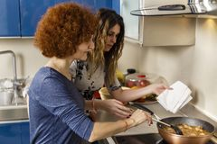 Φίλες που μαγειρεύουν στο σπίτι από κοινού στοκ φωτογραφία με δικαίωμα ελεύθερης χρήσης