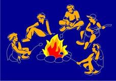 Φίλοι, αγόρια και κορίτσια που κάθονται στη φωτιά Διανυσματική απεικόνιση