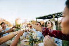 Φίλοι με τα ποτά κατά τη διάρκεια του κόμματος μεσημεριανού γεύματος στοκ εικόνες