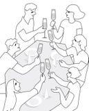 Φίλοι που έχουν μια φρυγανιά στο σχέδιο περιγράμματος Απεικόνιση αποθεμάτων