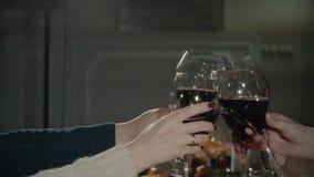Φίλοι που έχουν το κρασί που ψήνει περίπλοκο ταξίδι διακοπών διακοπών κόμματος γευμάτων κρασιού Clinking το γυαλιά χρόνια πολλά απόθεμα βίντεο