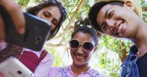 Φίλοι που εξετάζουν το κινητό τηλέφωνο στο πάρκο 4k φιλμ μικρού μήκους