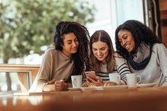 Φίλοι που κάθονται σε έναν καφέ που εξετάζει το κινητό τηλέφωνο Στοκ Εικόνες