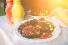 Φίλοι που κάνουν τη σχάρα και που έχουν το μεσημεριανό γεύμα στη φύση Ζεύγος που έχει τη διασκέδαση τρώγοντας και πίνοντας pic-ni Στοκ εικόνα με δικαίωμα ελεύθερης χρήσης