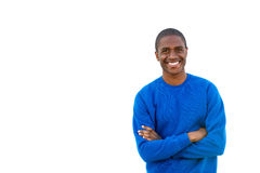 Φίλαθλος νεαρός άνδρας που χαμογελά στο απομονωμένο άσπρο υπόβαθρο στοκ φωτογραφία