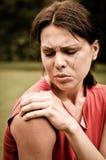 φίλαθλος ώμων πόνου τραυμ& Στοκ Φωτογραφίες