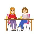 Φίλες που κάθονται στον πίνακα, χαμογελώντας πρόσωπο που έχει ένα επιδόρπιο στη γλυκιά διανυσματική απεικόνιση καφέδων ζύμης διανυσματική απεικόνιση