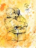 Φίλημα ζευγών αγάπης Γραφική απεικόνιση μελανιού στο υπόβαθρο watercolor Στοκ Φωτογραφία