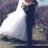 Φίλημα, νύφη και νεόνυμφος γαμήλιων γλυκό ζευγών Στοκ Φωτογραφία
