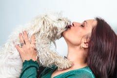 Φίλημα σκυλιών Bichon γυναίκες Στοκ Εικόνες