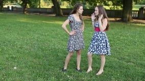 Φίλη δύο που στέκεται σε ένα πάρκο που μιλά, πυροβολισμός στην πλήρη αύξηση απόθεμα βίντεο