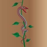 Φίδι με τις εγκαταστάσεις Στοκ Φωτογραφία
