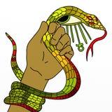 Φίδι στο χέρι του και ankh Στοκ εικόνα με δικαίωμα ελεύθερης χρήσης