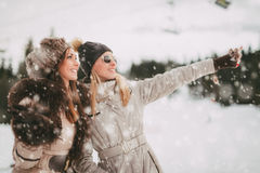 Φίλοι κοριτσιών στο βουνό το χειμώνα Στοκ εικόνες με δικαίωμα ελεύθερης χρήσης