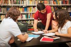 Φίλοι κολλεγίου που μελετούν από κοινού Στοκ Εικόνες