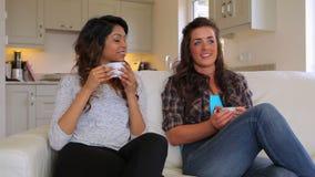 Φίλοι που κάθονται στον καφέ κατανάλωσης καναπέδων απόθεμα βίντεο