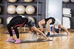 Φίλοι που κάμπτουν προς τα πίσω στη γυμναστική Στοκ Εικόνες