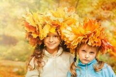 Φίλοι σε ένα κίτρινο φθινοπωρινό πάρκο στοκ εικόνα με δικαίωμα ελεύθερης χρήσης