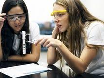 Φίλοι σχολικών κοριτσιών που μαθαίνουν την επιστήμη στην τάξη εργαστηρίων στοκ εικόνες