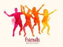 Φίλοι Watercolour που πηδούν από κοινού Στοκ Εικόνες