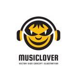 Φίλος της μουσικής - διανυσματική απεικόνιση έννοιας λογότυπων στο επίπεδο σχέδιο ύφους Ακουστικό mp3 σημάδι Σύγχρονο υγιές εικον απεικόνιση αποθεμάτων