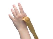 Φαγουρίστε το χέρι με τα εργαλεία Στοκ εικόνα με δικαίωμα ελεύθερης χρήσης